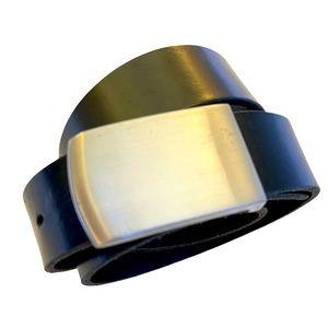 V Express Belt Black Silver Rectangle Buckle